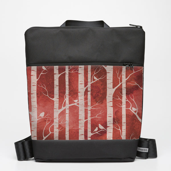 Oversize Backpack with Birch Forest - Ruby