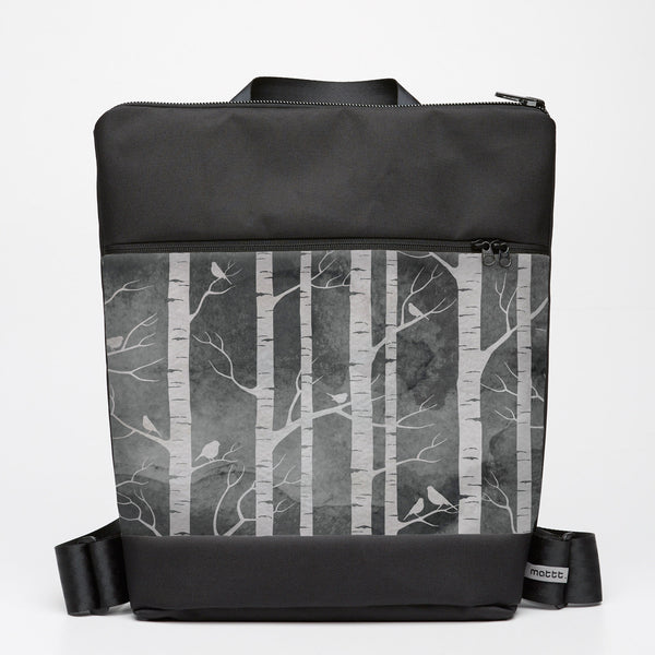 Oversize Backpack with Birch Forest - Smokey