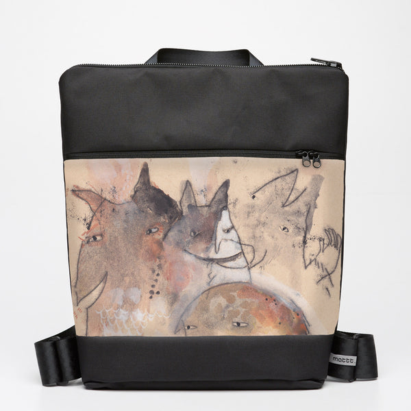 Oversize Backpack with Critters - Watercolour