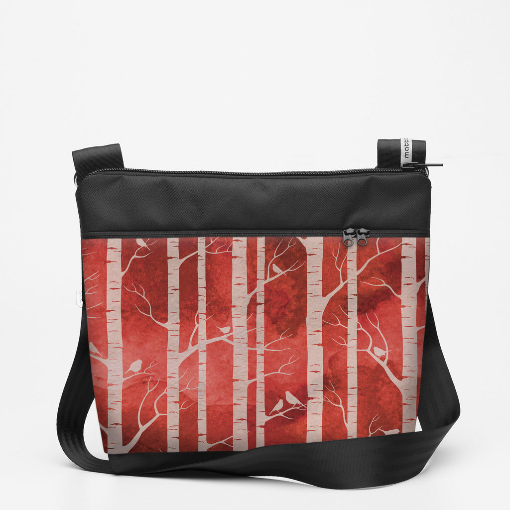 Copy of Travel Shoulderbag with Birch Forest - Ruby