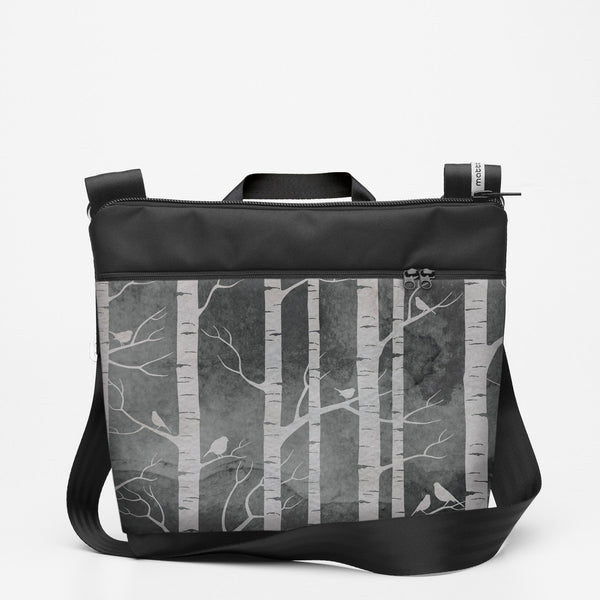 Custom Travel Shoulderbag with Birch Forest - Smokey