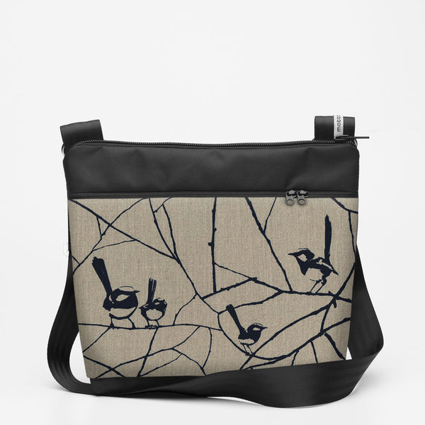 Travel Shoulderbag with Wrens - Ink Blue