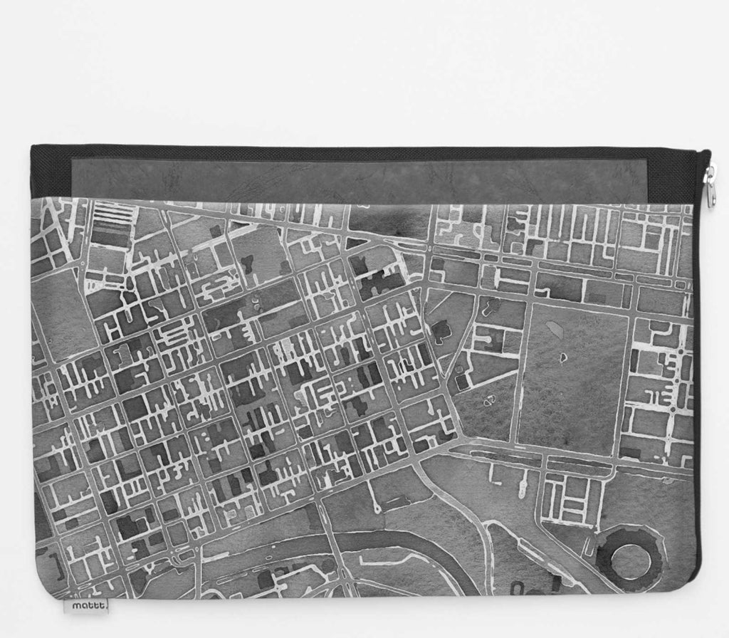 Laptop Folio with Melbourne - Greyscale