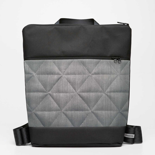 Oversize Backpack with Quilted - Grey Denim