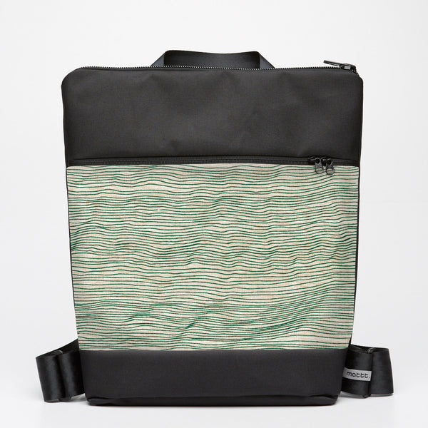 Oversize Backpack with Line Drawing - Moss