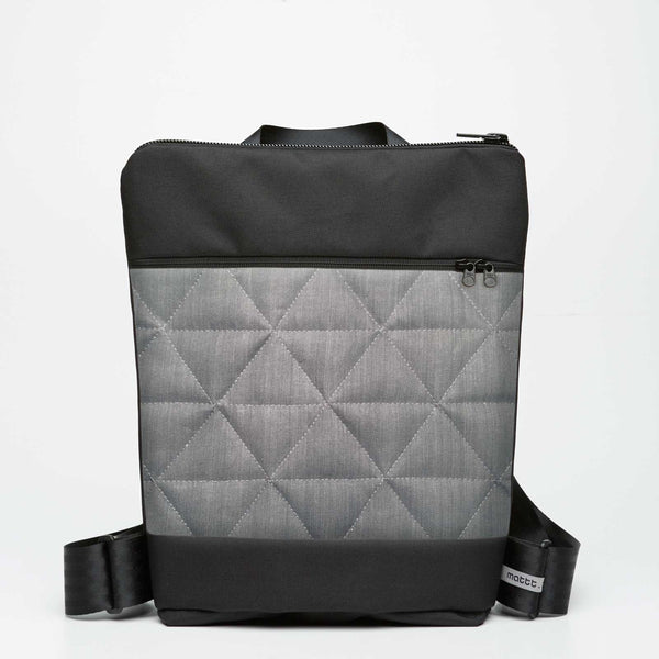 Zipper Backpack with Quilted - Grey Denim