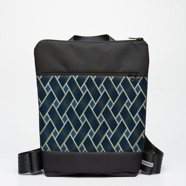 Zipper Backpack with Basket Case - Indigo