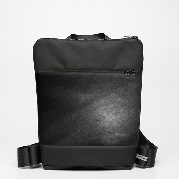 Zipper Backpack with Kangaroo Leather - Black