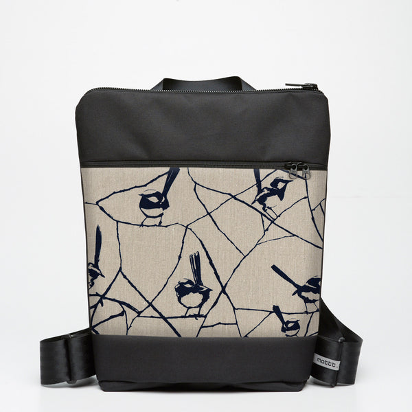 Zipper Backpack with Wrens - Ink Blue