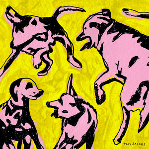 Pink Dogs on the Green Grass