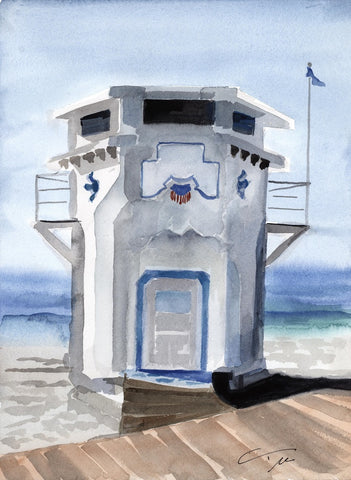 Lifeguard Tower Portrait Print - Laguna Beach T-Shirt Co