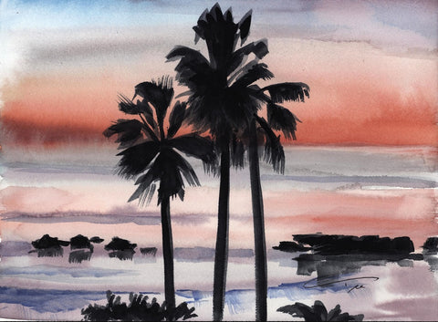 Sunset Palms Print