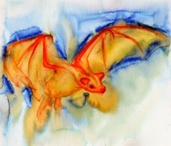 Watercolor Painting of a Bat