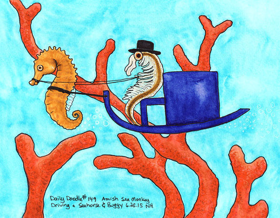 No.149 Amish Sea Monkey Driving a Seahorse & Buggy
