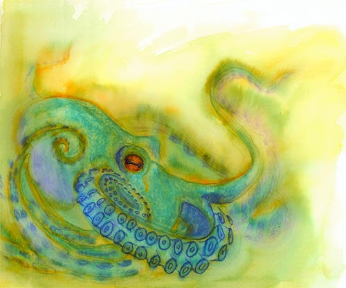 Blue Octopus Watercolor Painting Print