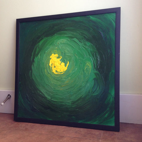 Untitled - Green Abstract Painting - Framed