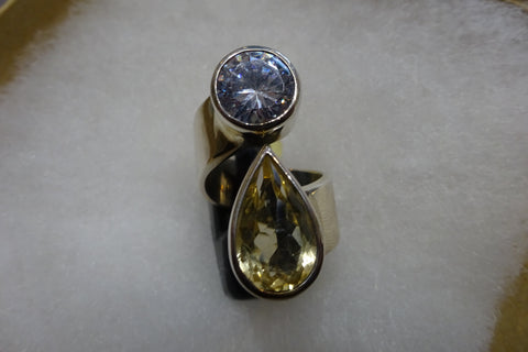 Citrine and Zircon Ring