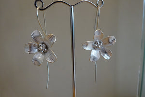 Long Back Flower Earrings