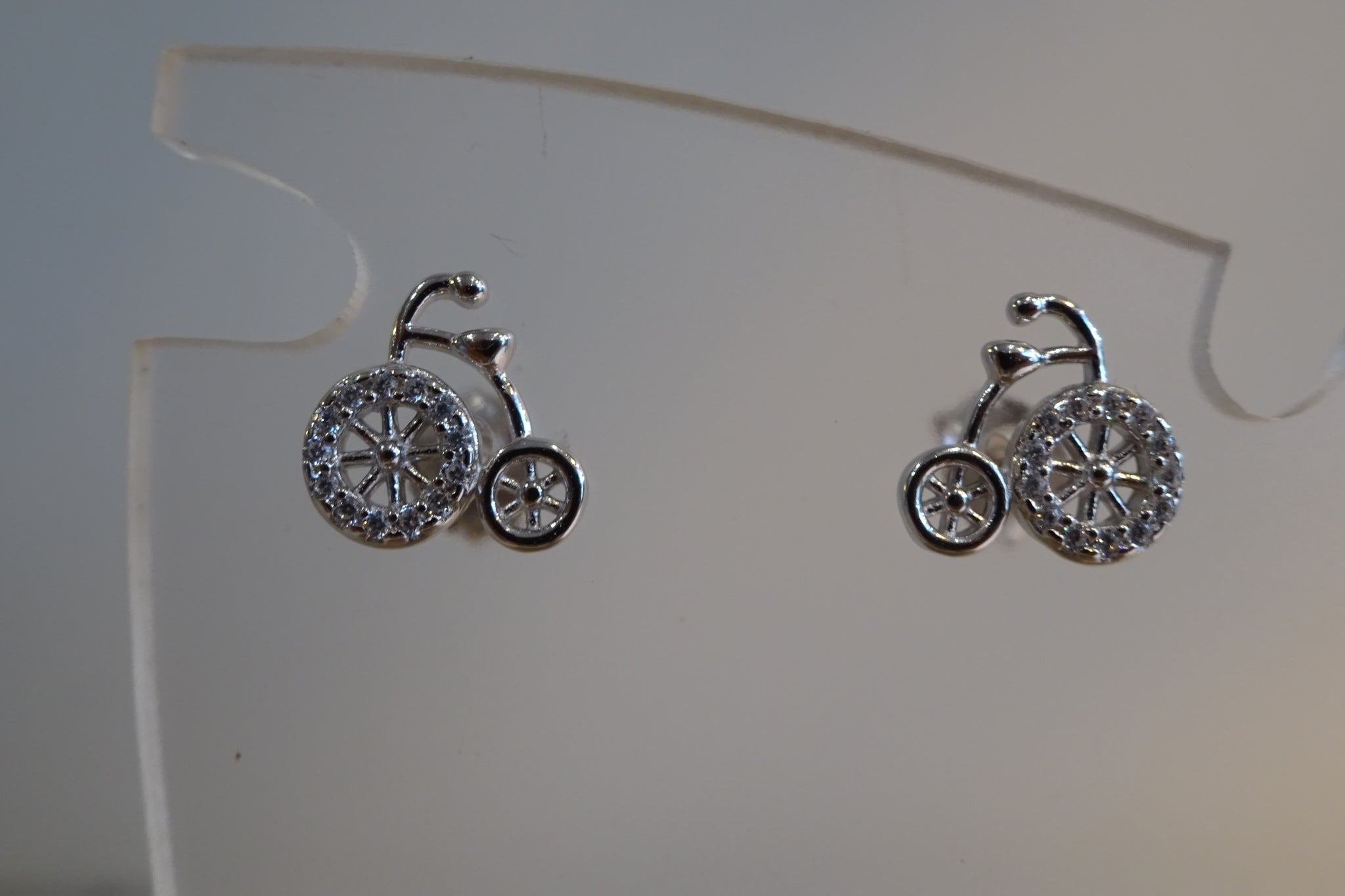 Silver Bike earrings.