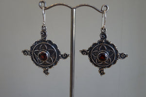 Ethnic Style Earrings with Garnet