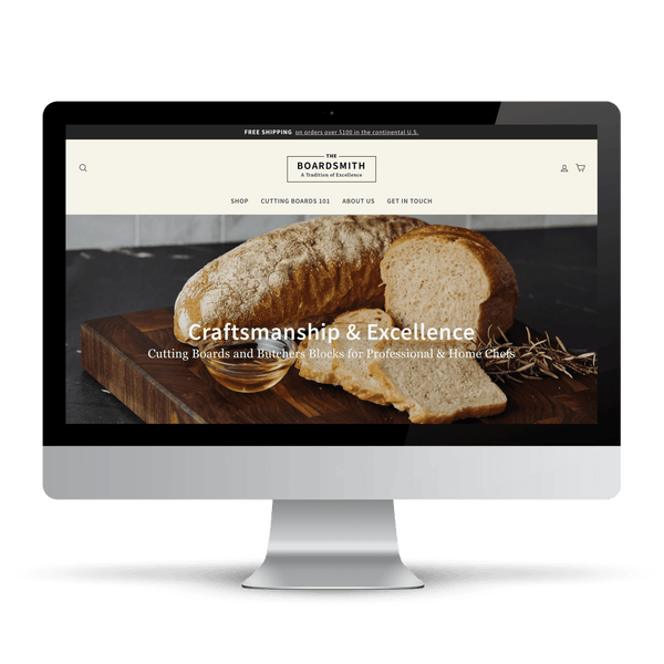 Shopify website for wooden cutting boards