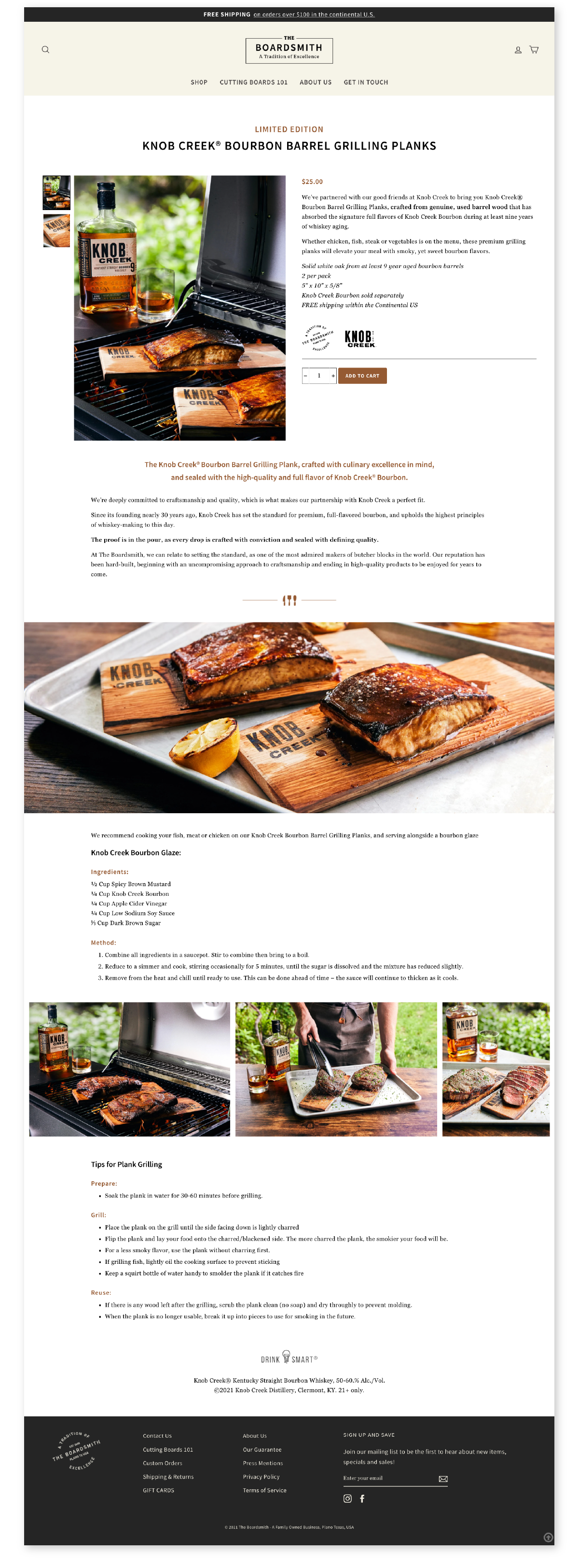 Shopify site for cutting boards