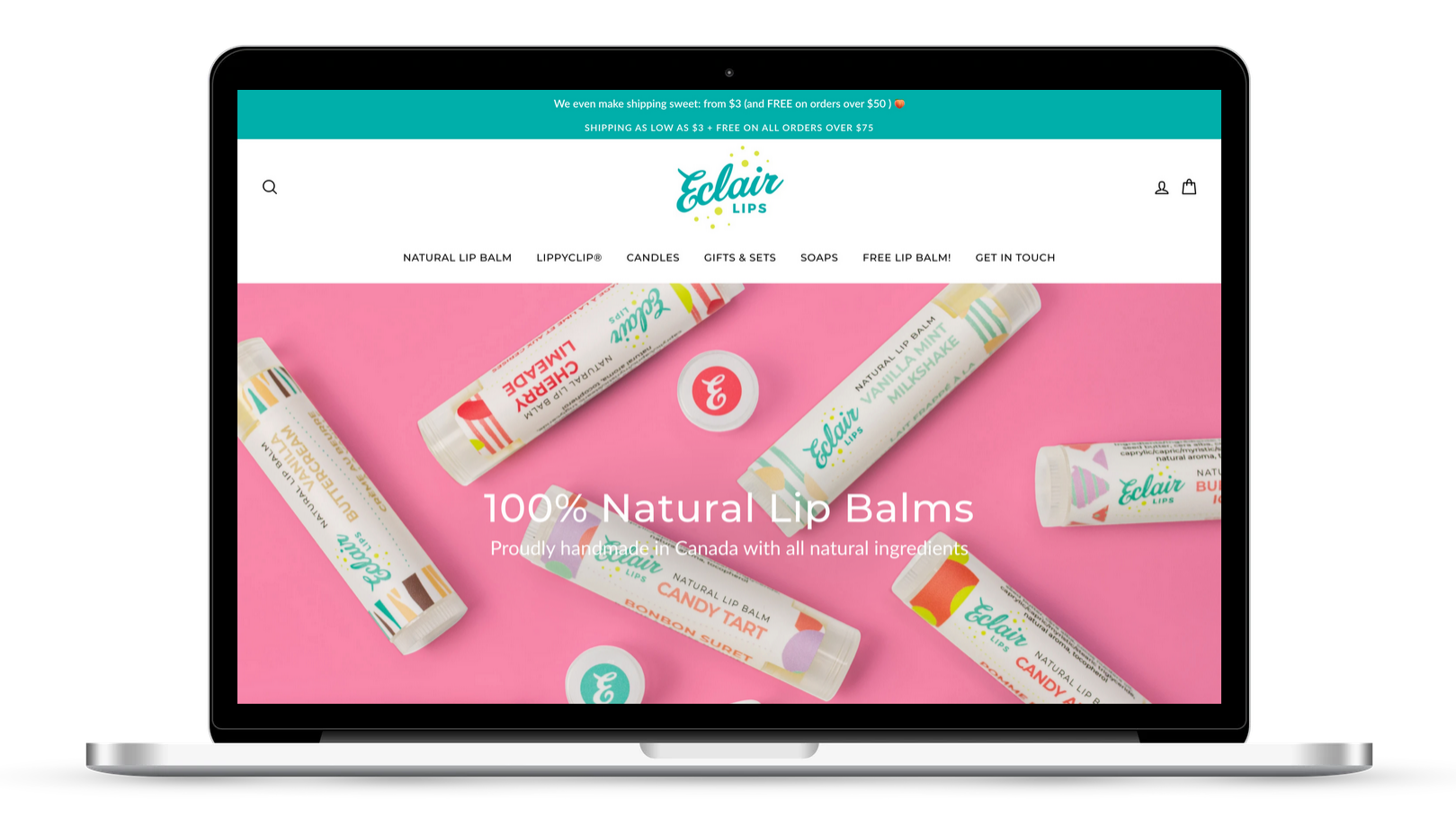 Shopify website for natural lip balms