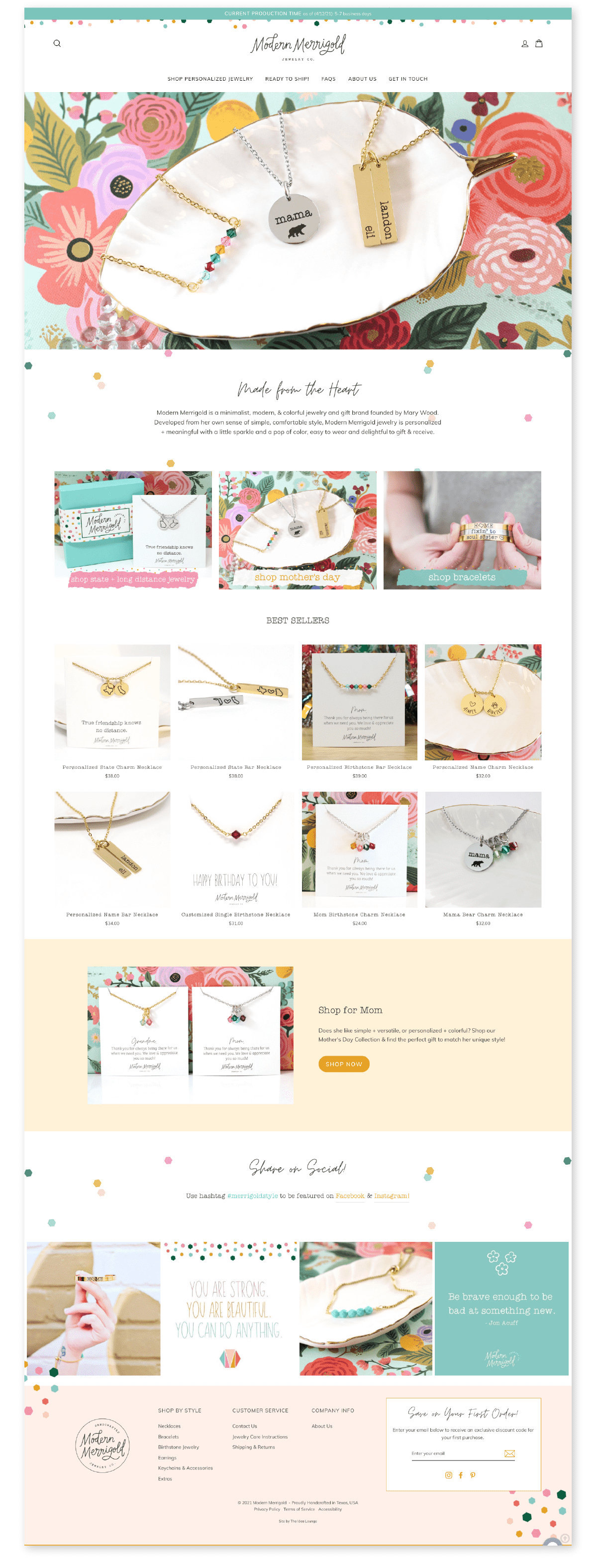 Shopify website for customized jewelry