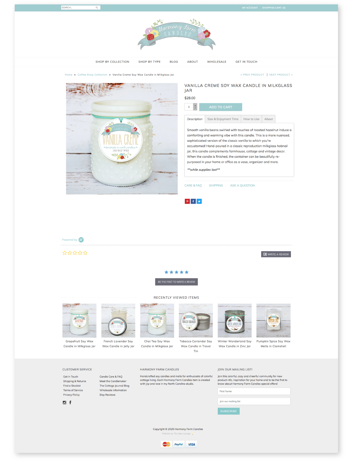 Shopify website for candles