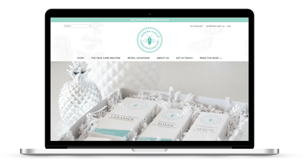 Shopify website for skincare