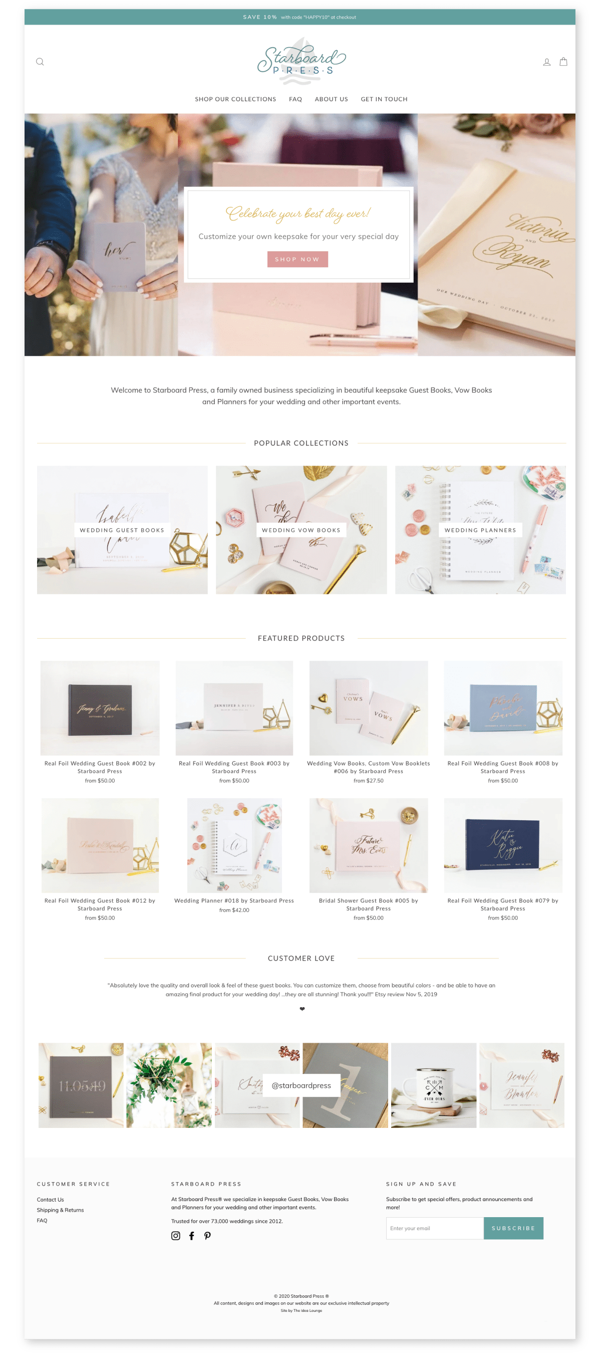 Shopify website for customizable wedding guest books