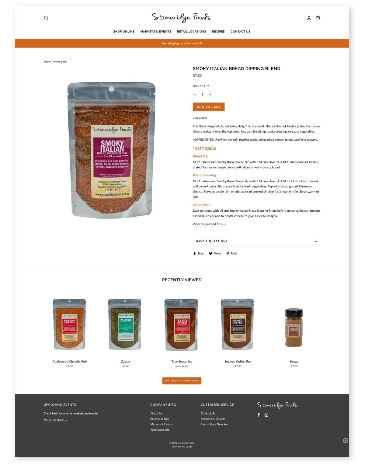Shopify site for food company
