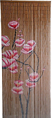 Bamboo Partition Curtain with Pink Flowers