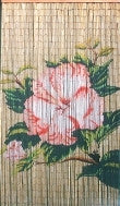 Bamboo Door Curtain with Flower