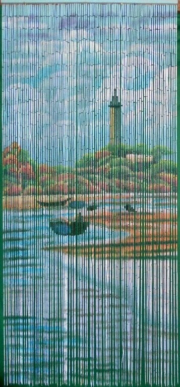 Coastal Scene Painted Bamboo Beads