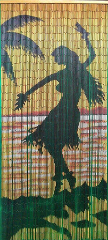 Bamboo Curtain with Hawaiian Dancing Girl