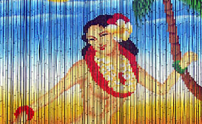 hula dancer bamboo curtain