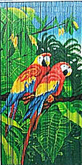 Bamboo Doorway Curtain with Parrots