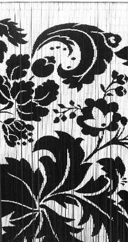B&W Flowers Bamboo Curtain