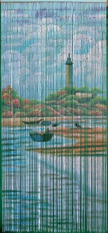 'Lighthouse Landscape' Bamboo Curtain