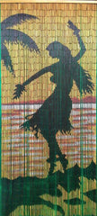 Bamboo Curtain with Hula Girl Silhouette