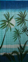 'Midnite Palms' Bamboo Doorway Curtain