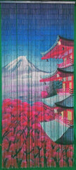 Bamboo Door Screen 'Mount Fuji' with 125 strands
