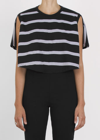 circle crop top - b&w stripe