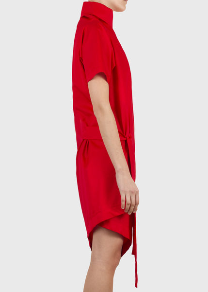 crimp tunic - red