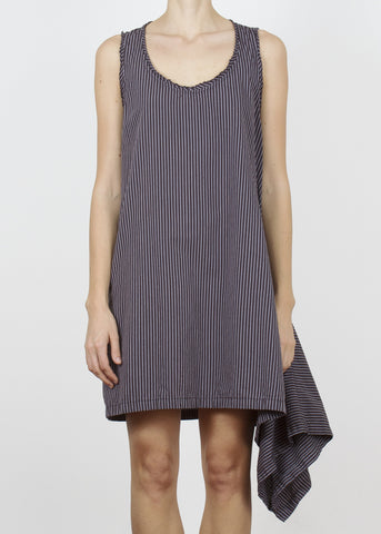 notch dress - charcoal stripe