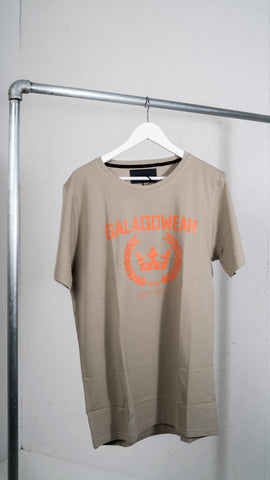 Olive t-shirt with Orange logo