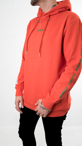 Small logo repeat hood - red / green