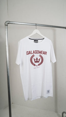 White t-shirt with Burgundy logo