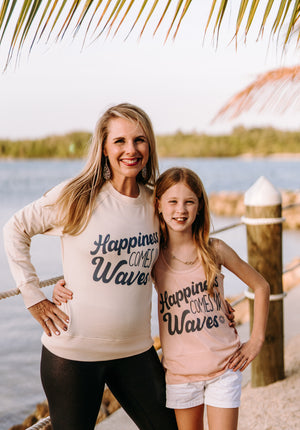 Happiness Comes In Waves (Girls Racerback)